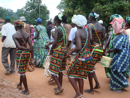 Four Baila girls being escorted to an initiation ceremony in Casamanca, Senegal
