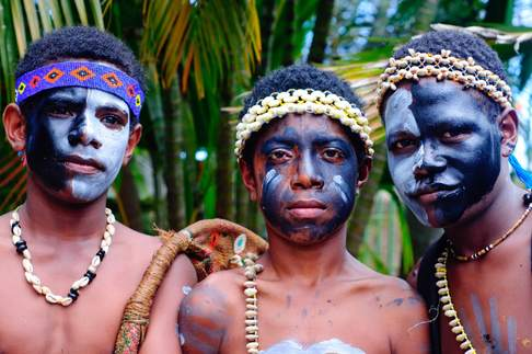 Adolescent male Kastom dancers in Port Moresby, celebrating the Manus Province in Papua New Guinea