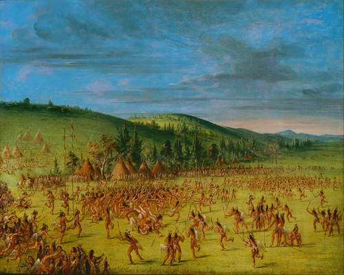 Choctaw stickball, a predecessor of modern lacrosse, was a highly physical game known as the little brother of war (Carson 1995). George Catlin was inspired to paint the sport after witnessing a game in Indian Territory in 1834.
