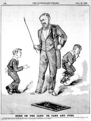 Cartoon of students receiving the cane