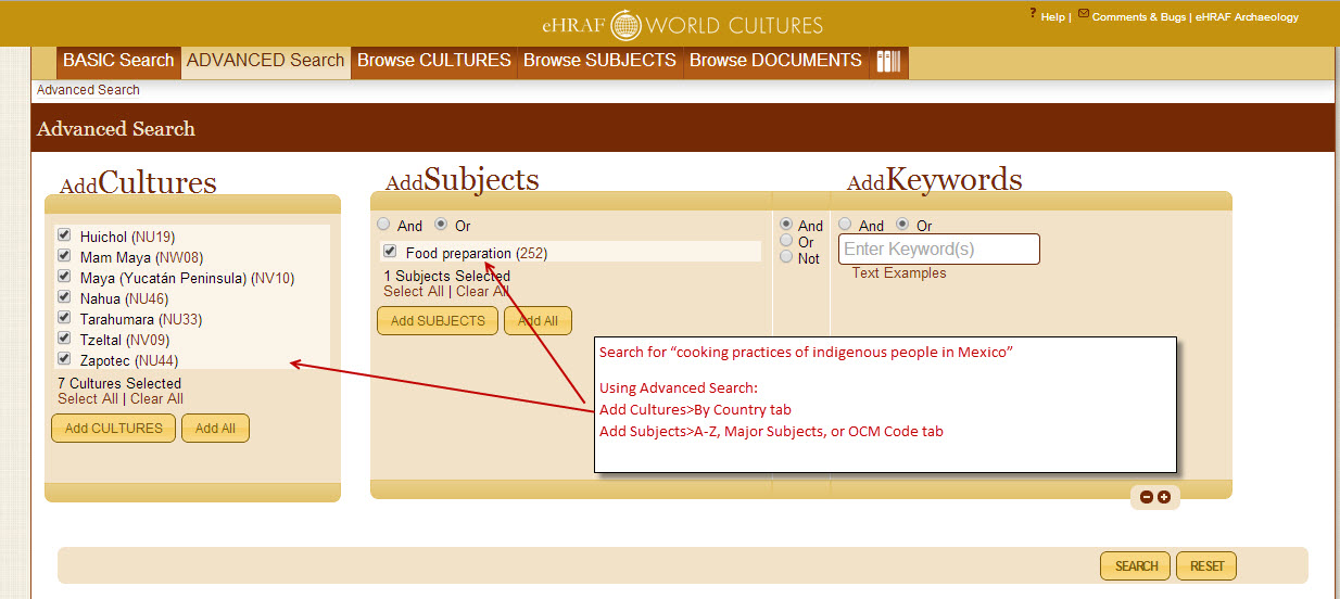 eHRAF Advanced Search with cultures and subjects