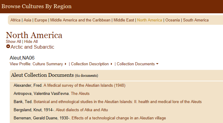 The Collection Documents section in Browse Cultures of eHRAF World Cultures showing collected ethnographic works for the Aleut, a culture in the Arctic region of North America