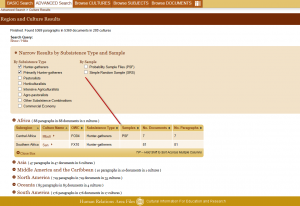 Subsistence and sample types in eHRAF's results page