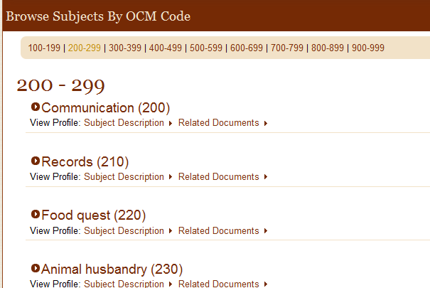 Browse Subjects by OCM code in eHRAF