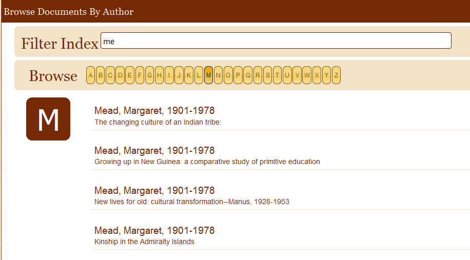 Browsing Documents by author's surname in eHRAF. Begin typing, and matches by surname will appear in the list.