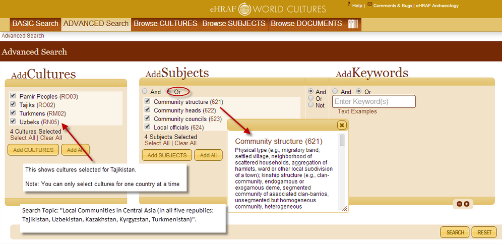 Screenshot of an eHRAF Advanced Search using Add Cultures and Subjects