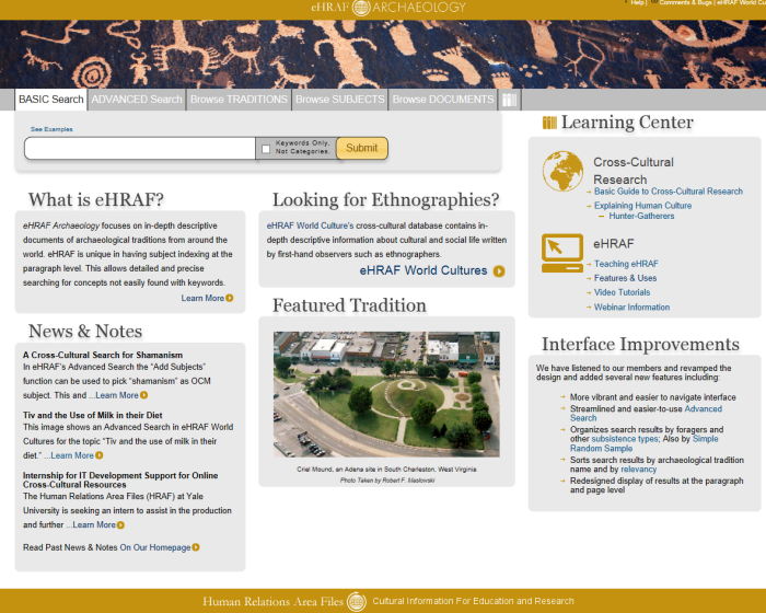 Image of eHRAF Archaeology database