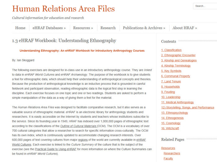A Student Exercise from Teaching eHRAF, a portal of 30+ online course assignments for cultural and medical anthropology, comparative archaeology, and research methods