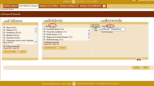 Advanced Search in eHRAF World Cultures for culture names, OCM subjects, and specific keywords.