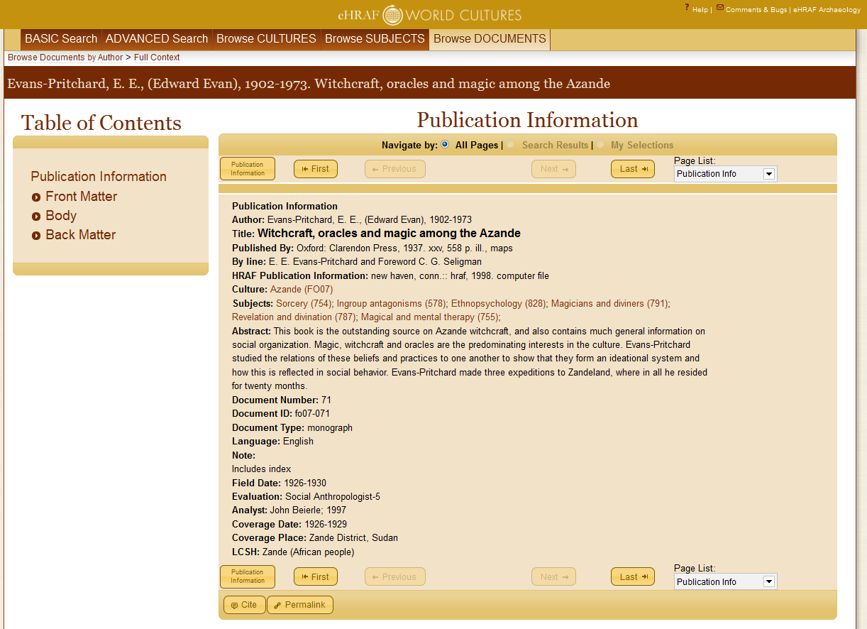 Figure 1. Sample Publication Information page from eHRAF World Cultures. Note the citation and permalinks buttons at the foot of the page.