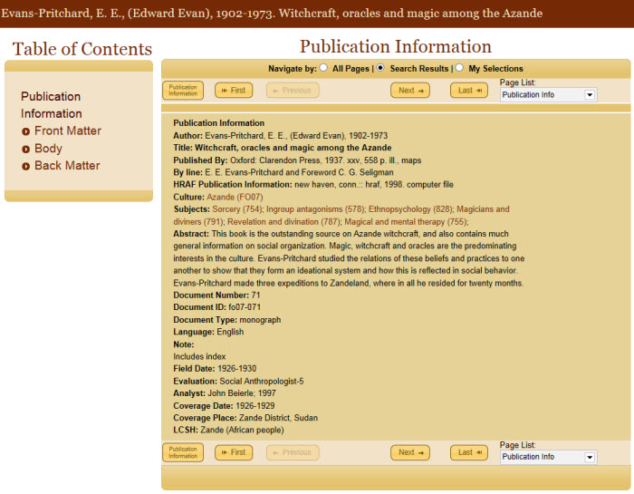 Screenshot of publication information for a document from the eHRAF World Cultures database.