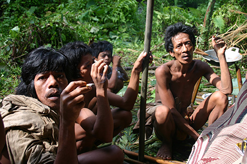 Men and boys from the Orang Rimbu tribe in Sumatra, Indonesia. The Orang Rimbo, also referred to as Kubu, are one of the few hunter-gatherer groups in Southeast Asia. The photo was taken August 2005 by Khaled Hakami, anthropologist at the University of Vienna and organizer of the upcoming CHAGS Conference.