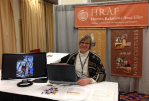 Christiane Cunnar, Member Services, at the HRAF booth at an anthropological conference
