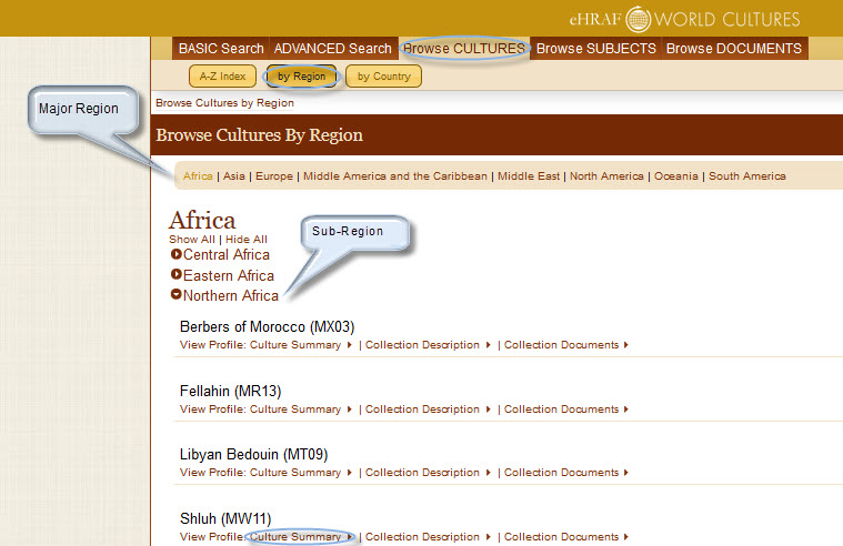 Figure 1. Screenshot of steps (see light blue circles/call-outs from top to bottom) in the Browse Cultures by Region.