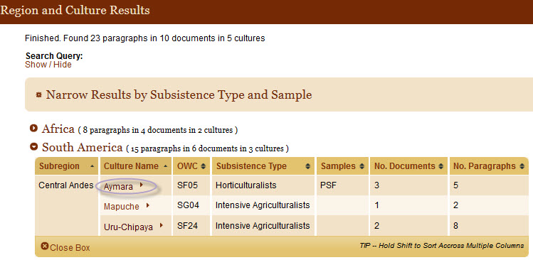 Screenshot of a Region and Cultures Results page.  This menu helps users associate culture names with major geographic regions and subregions.