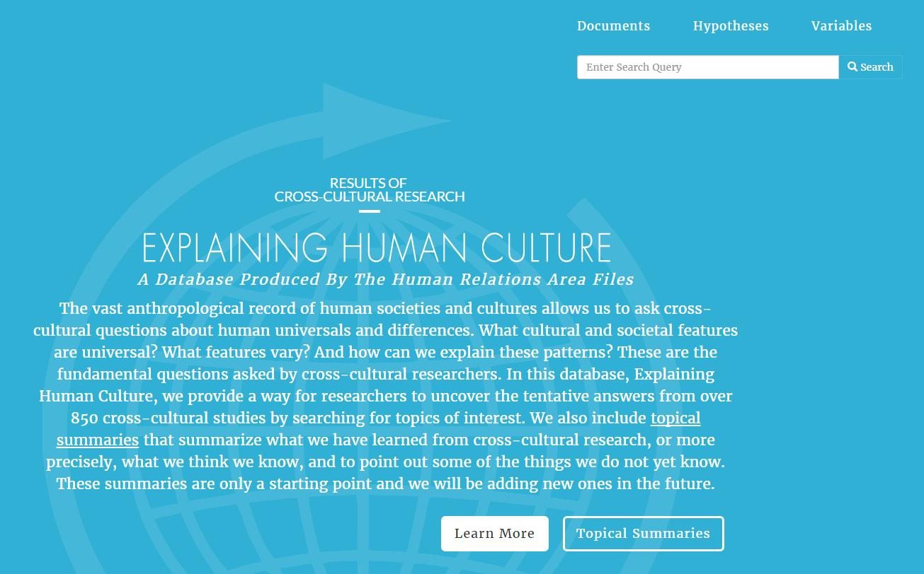 Begin searching Explaining Human Culture