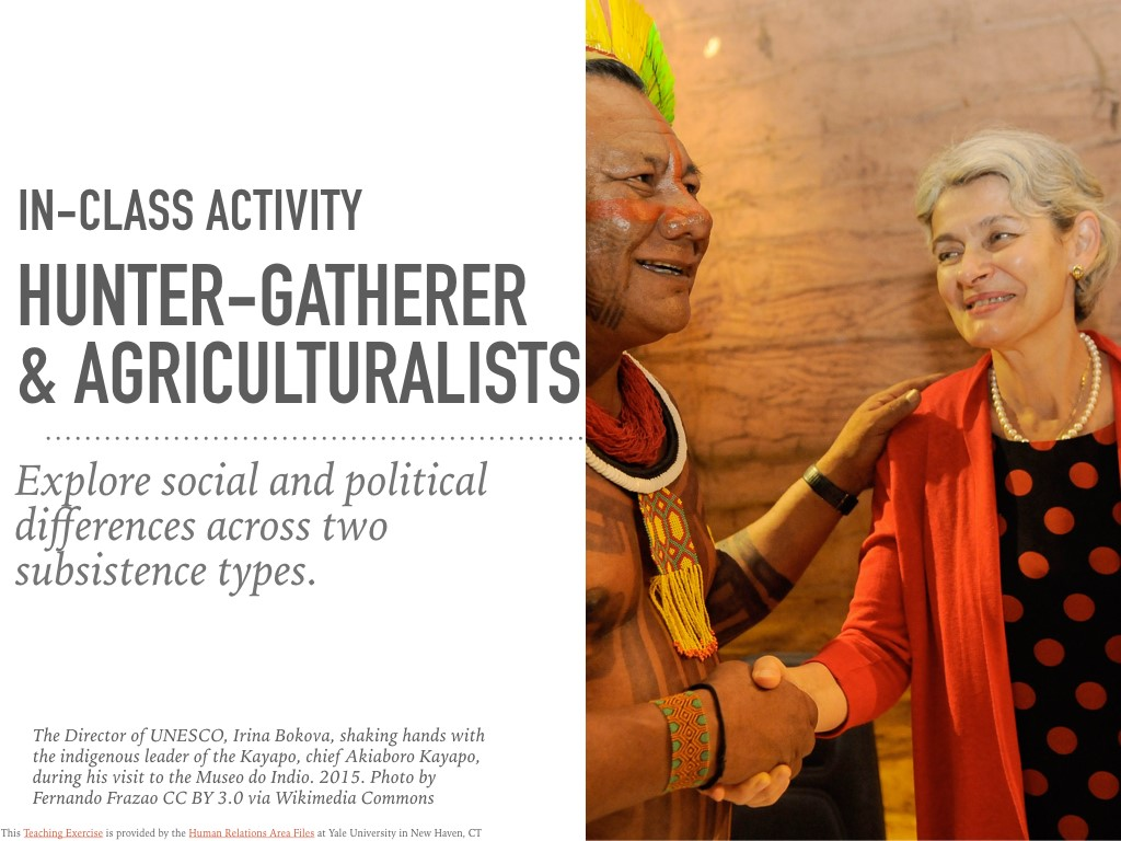 Hunter Gatherers & Agriculturalists In-Class Activity