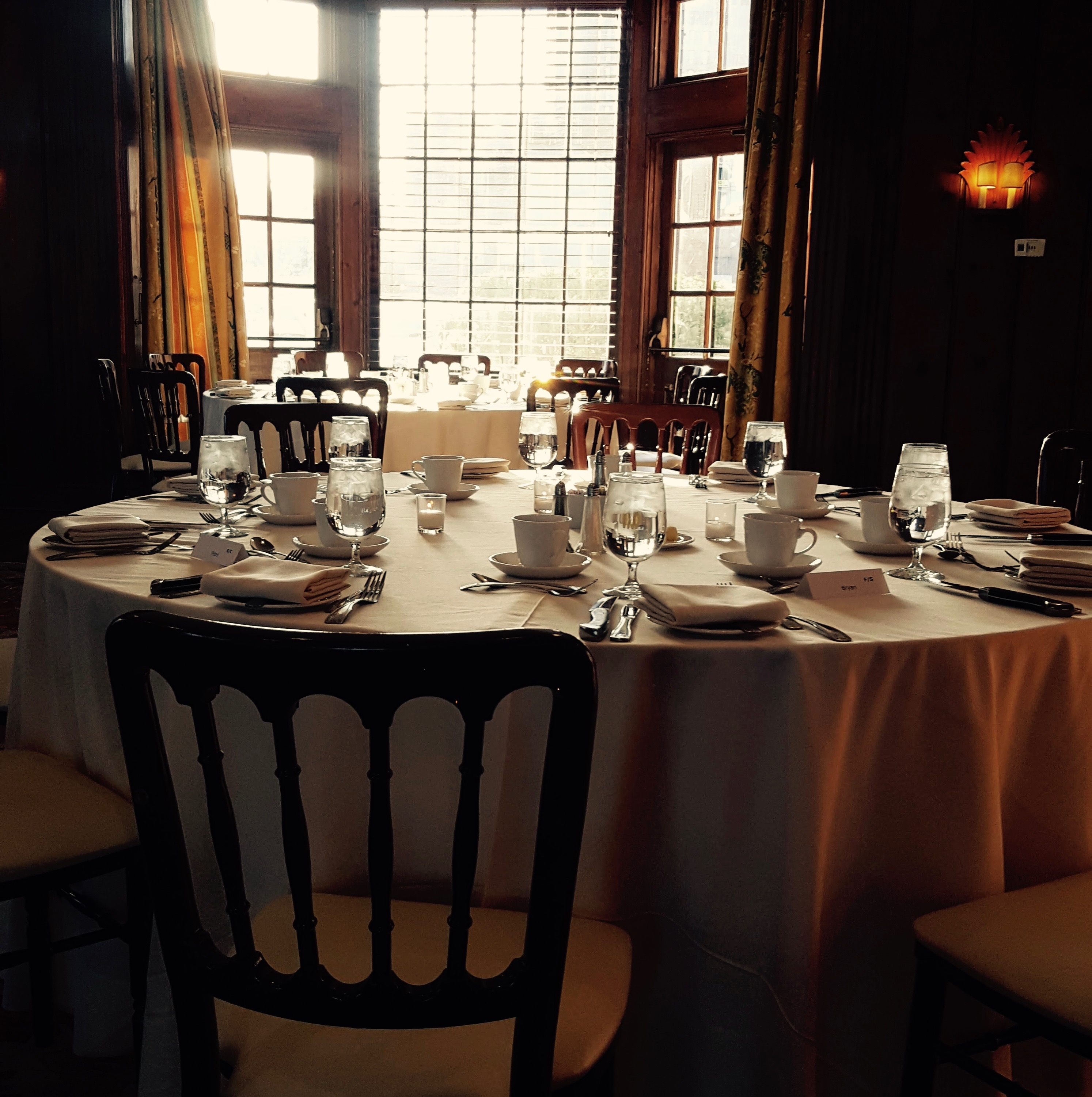 Table settings at the New Haven Lawn Club, where the 2018 HRAF Board Dinner was held.