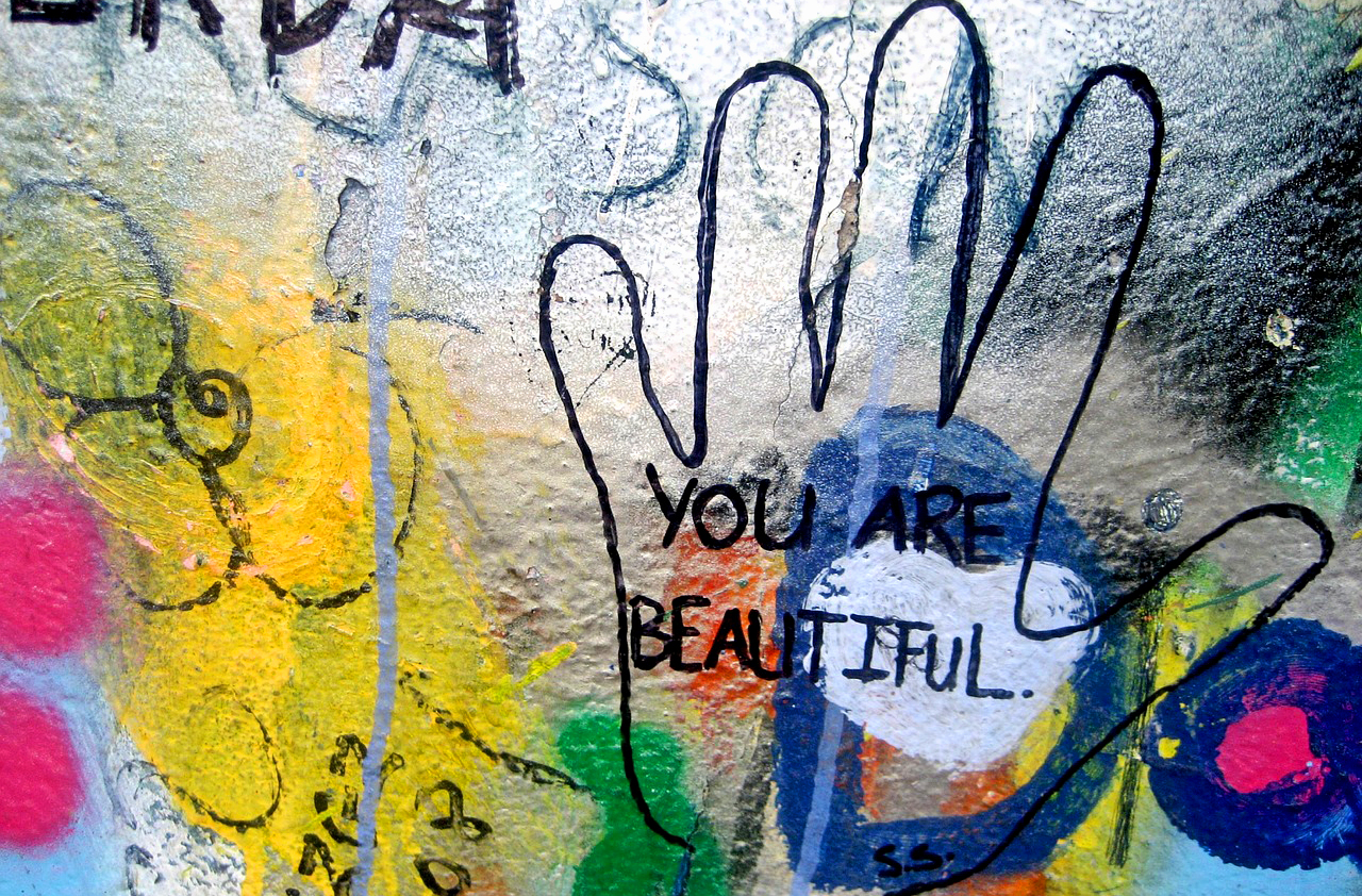 You are beautiful + hand print