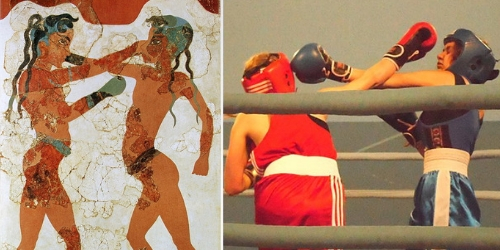 On left, two Greek boys boxing. On Right, female Estonian boxers.