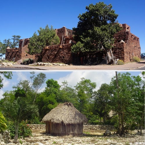 The Hopi house is large and angular, and the Maya house is small and round.