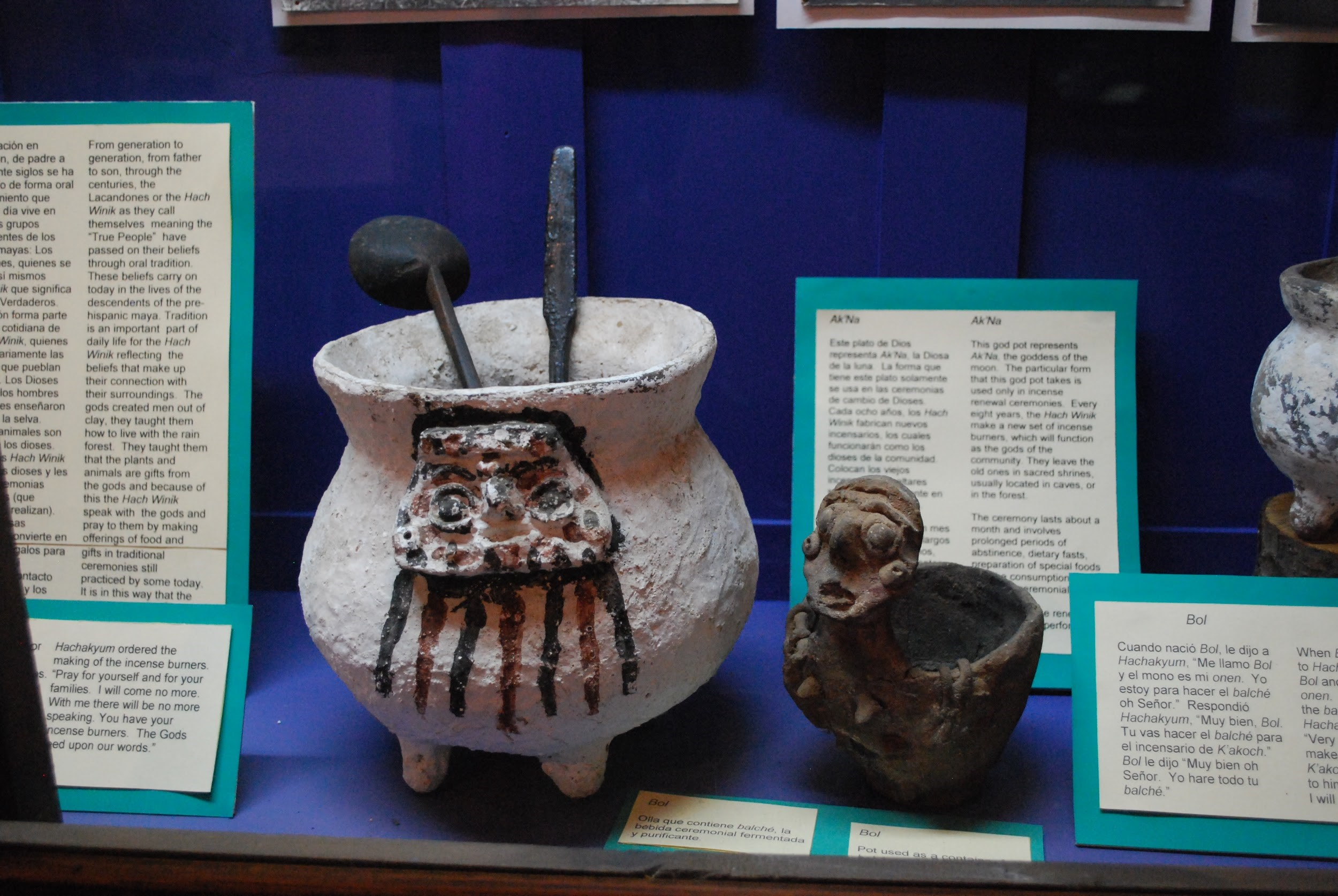 Museum display of pot and ladle