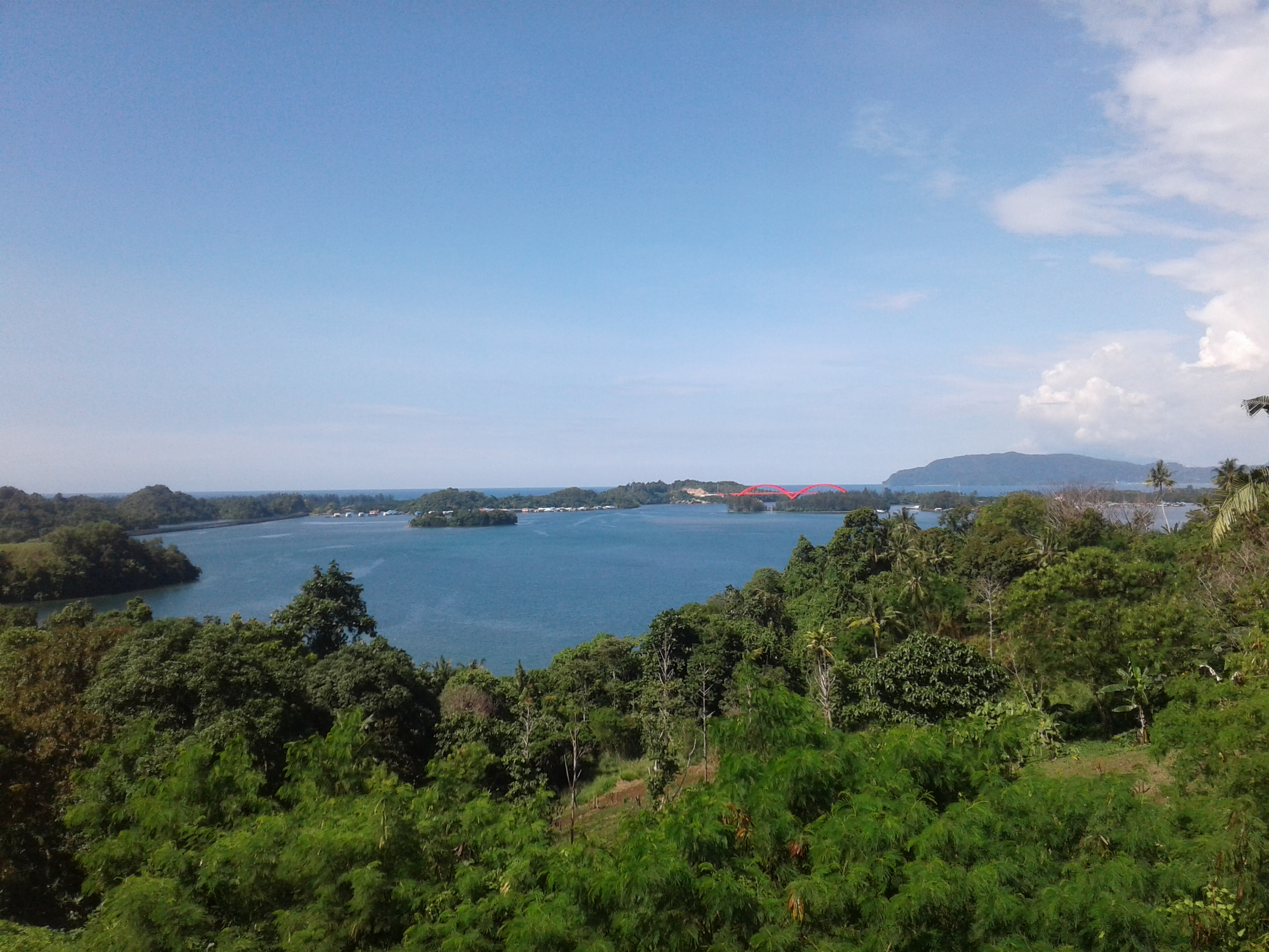View of bay at Yos Sudarso Island on a clear day.