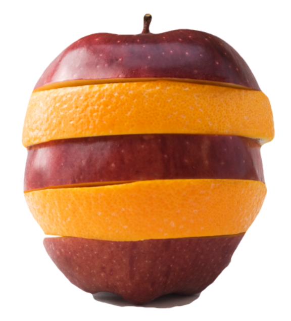 Apple and orange spliced together