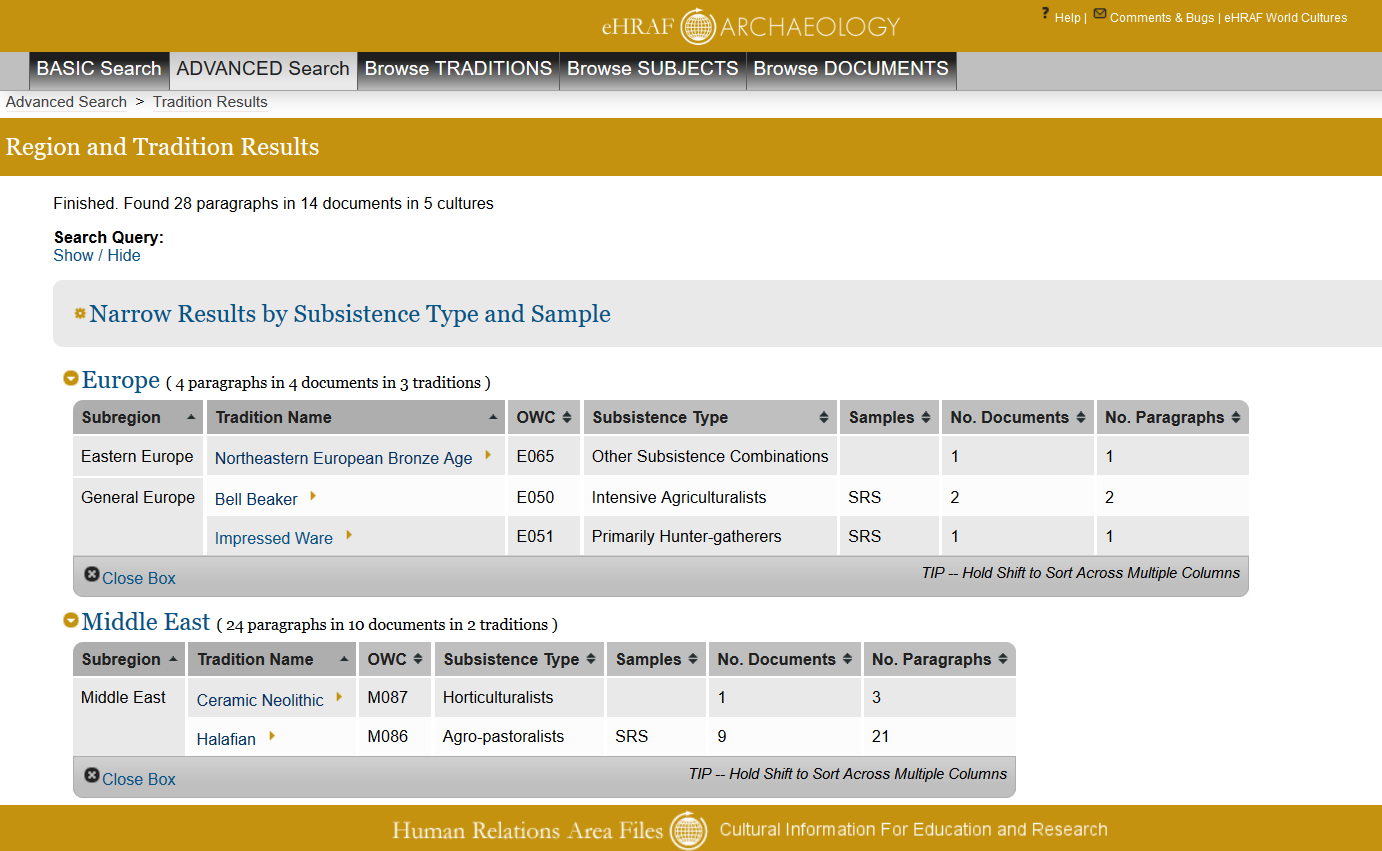 Screenshot of tholos search results from eHRAF